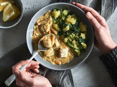 Fischragout mit Mangold-Kartoffelstampf