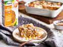 Süßer Auflauf mit Bonduelle À LA REIS®, Kokos und Mango auf Teller serviert