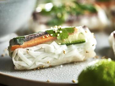 Vietnamesische Sommerrolle auf Teller mit Sesam bestreut