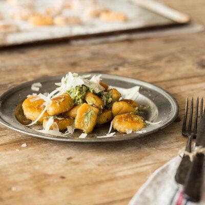 Sweet Potato Gnocchi with Wild Garlic and Sage Pesto_featured