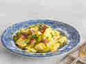 Bayrischer Kartoffelsalat mit Brühe und Speck