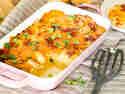 Kartoffelpüree-Auflauf mit Speck und Cheddar