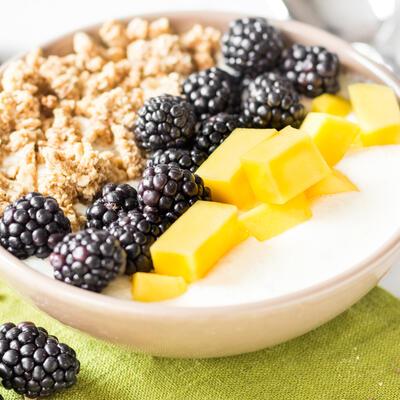 greek yogurt breakfast bowl mit blaubeer granola und n ssen. Black Bedroom Furniture Sets. Home Design Ideas