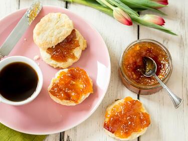 mango pfirsich marmelade mit ingwer. Black Bedroom Furniture Sets. Home Design Ideas