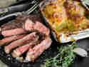Sous vide Steak mit französischem Kartoffelgratin