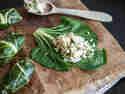Gefüllte Mangoldblätter mit Hühnchen und Reis