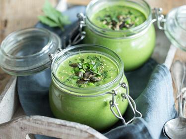 Feierabend Im Glas Schnelle Spinat Erbsen Cremesuppe