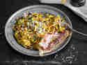 Kürbisnudeln mit Bacon und Spinat