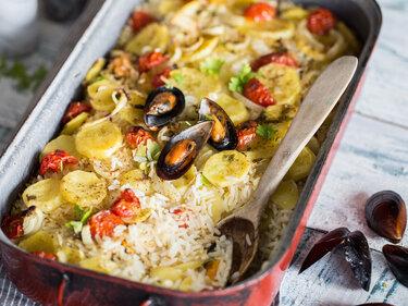 Reis-Kartoffel-Auflauf mit Miesmuscheln