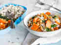 Lunchbox mit Wildreis, Kichererbsen und Möhren