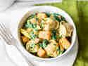 Cremige Tortellini mit Süßkartoffel und Spinat