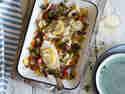 Scholle aus dem Ofen mit Fenchel und Tomaten