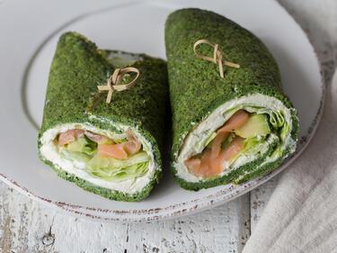 Spinat Crêpes Mit Avocado Und Lachs