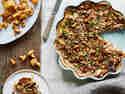 Blätterteig-Quiche mit Pfifferlingen, Birne und Gorgonzola