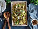 Orecchiette mit Lauch, Pilzen und Mandeln