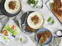 Käse-Lauch-Suppe mit vegetarischem Hack und Brotchips