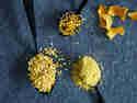 Getrocknete Zitronenschale und Orangenschale