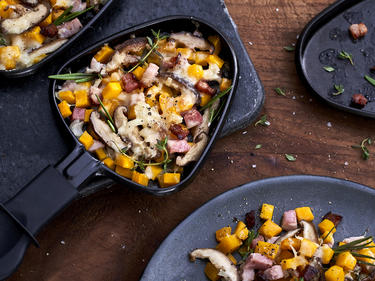 Kürbis-Raclette mit Speck