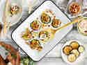 Aubergine gebacken mit Bulgur