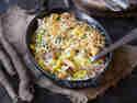 Schwarzwurzelauflauf mit Kartoffeln und Lachsschinken